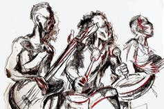 A black and white drawing of a musical band, on guitar and drums, the blurry edges heaving with motion.