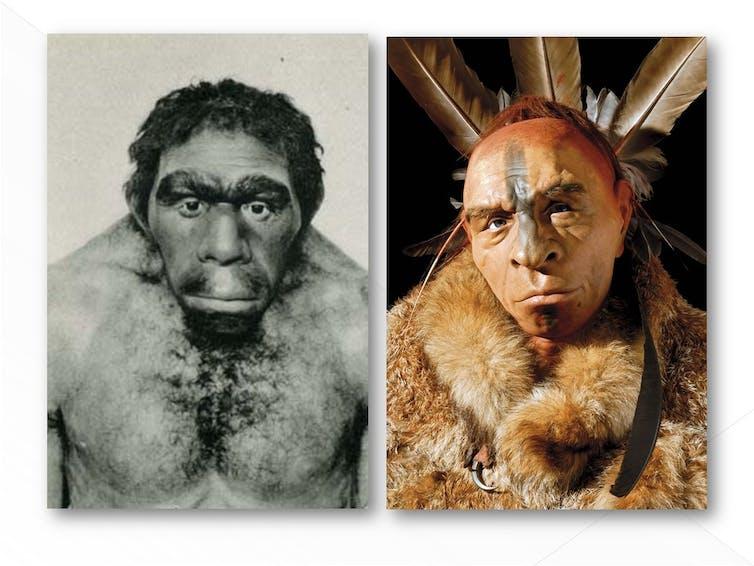En B/N representación del Neanderthal man, Field Museum of Natural History, Chicago. En color representación actual de  Fabio Fogliazza, del Laboratorio de Paleontología del Museo de Historia Natural de Milán.