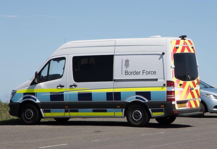 UK Border Force van driving down the road
