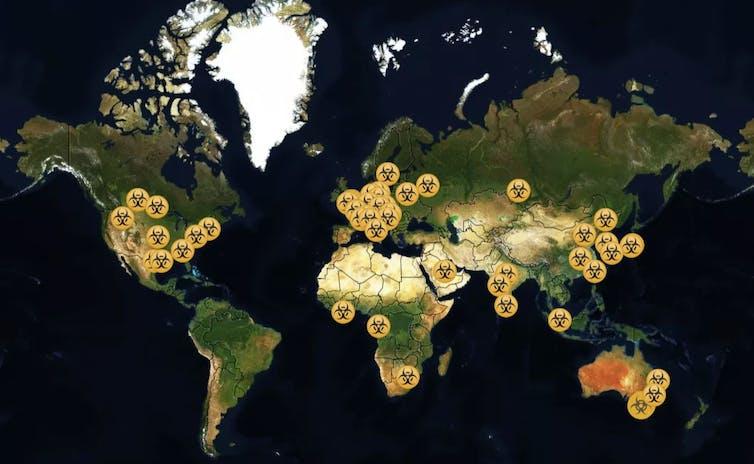Une carte montrant l'emplacement des laboratoires de niveau de biosécurité 4dans le monde