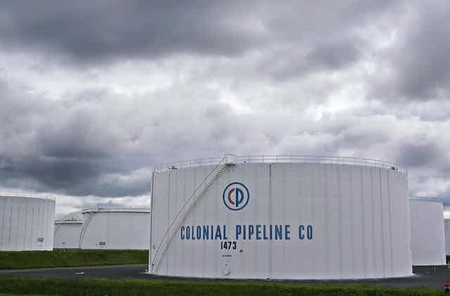 Storage tanks with COLONIAL PIPELINE CO written on them
