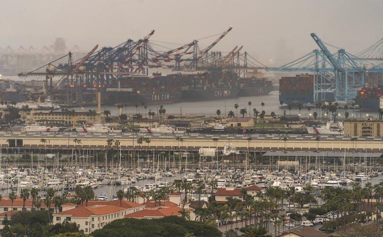 A large port on a hazy day.