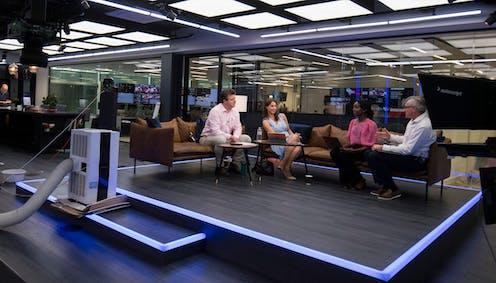 GB New presenters sit in the network's studio in Paddington, west London, June 2021.