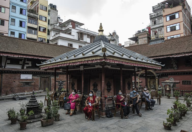 People awaiting COVID vaccination in Kathmandu, Nepal