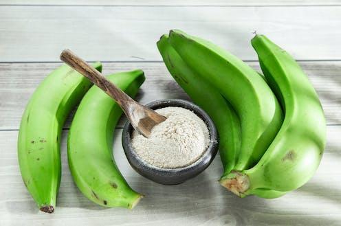 platanos verdes y harina de plátano.