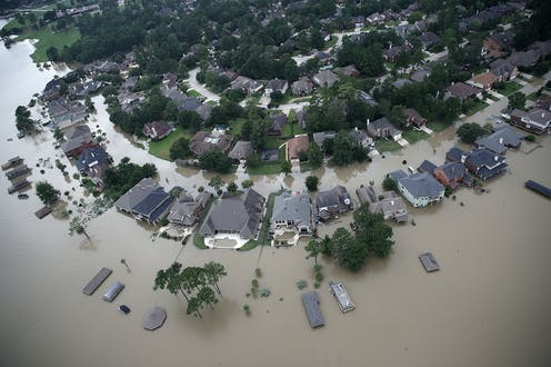 Streets of homes flooded in Houston after Hurricane Harvey