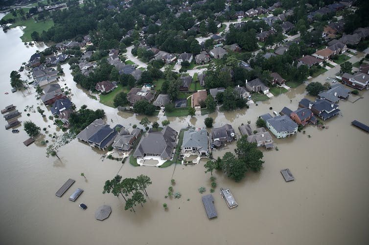 a flooded neighborhood