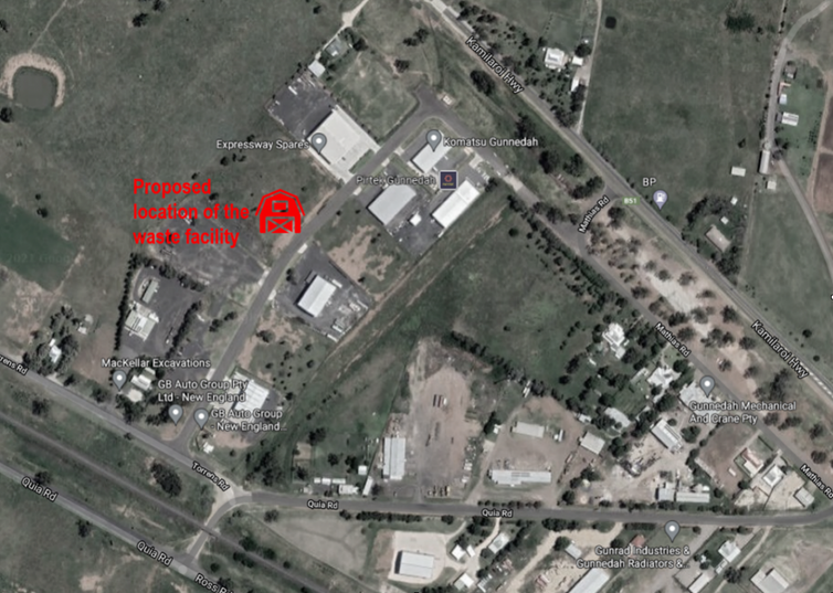 Map showing location of the proposed waste recycling facility in Gunnedah