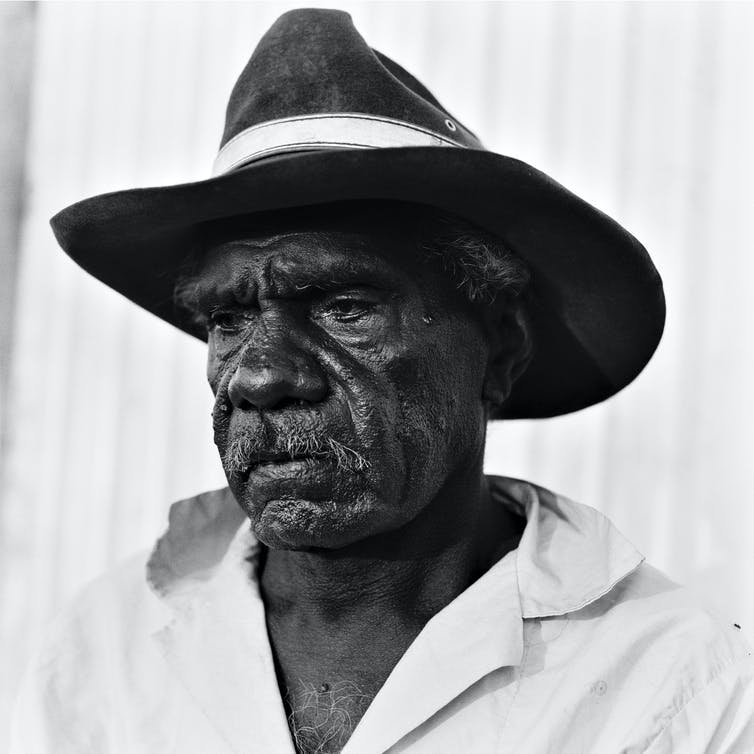 Hobbles Danayarri, photographed in 1980 by Håkan Ludwigson. This portrait was published in Ludwigson's book Balls and Bulldust, featuriing images of life on cattle stations in the Northern Territory.