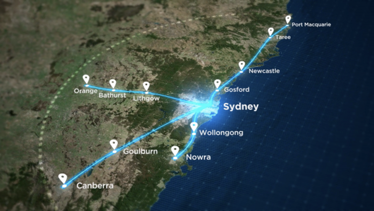 Map showing routes of four fast rail lines between Sydney and regional NSW