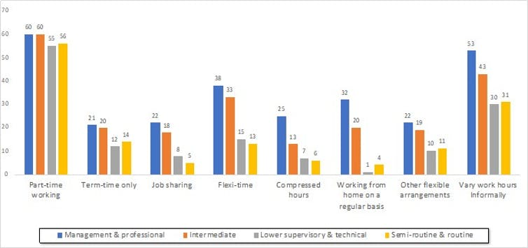 Multi-coloured bar chart showing which women had access to flexible working arrangements