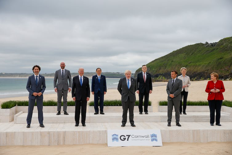 G7 leaders posing for a photo at the 2021 summit in Cornwall, England.