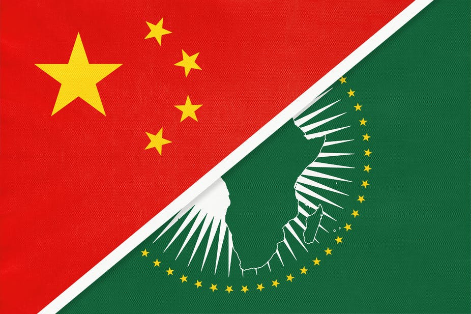 The flags of China and the African Union