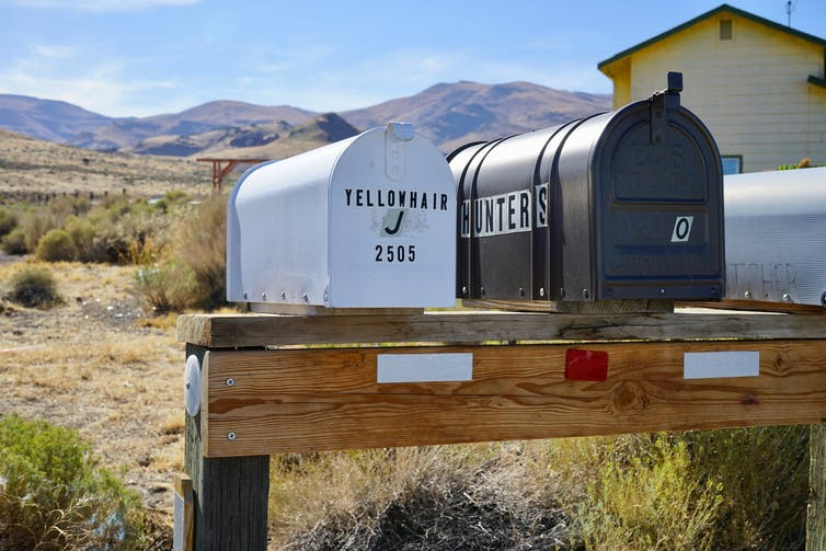 Mailboxes outside of Sutcliffe, Nev., on the Pyramid Lake Paiute Reservation. One bears the name Yellowhair.
