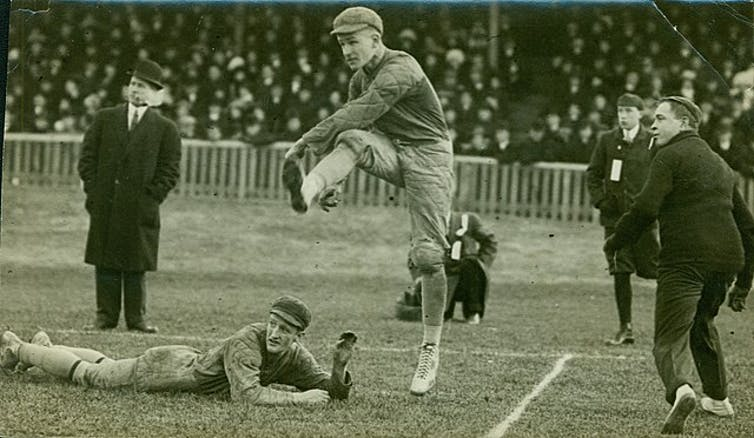 Archive photo of Jack Maynard kicking the winning field goal at the grey cup in 1910