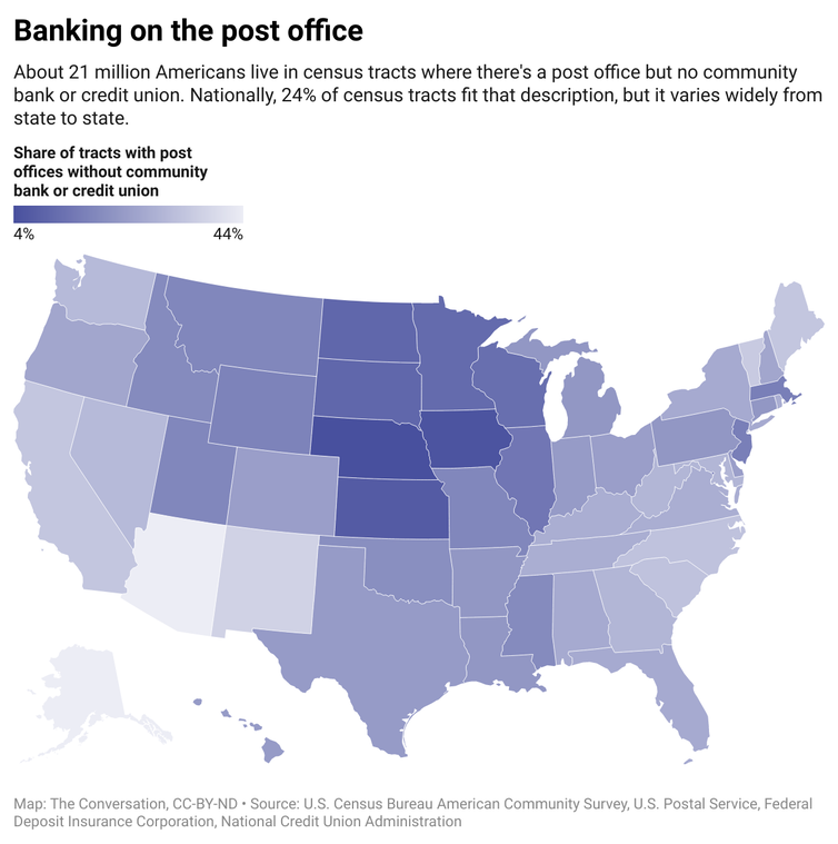 A map of the United States color coded according to the share of tracts with post offices without community bank or credit union.