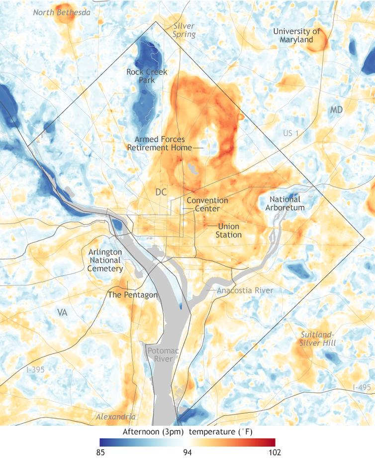 Une carte de Washington, D.C., et de certaines de ses banlieues montrant des îlots de chaleur dans les centres-villes.