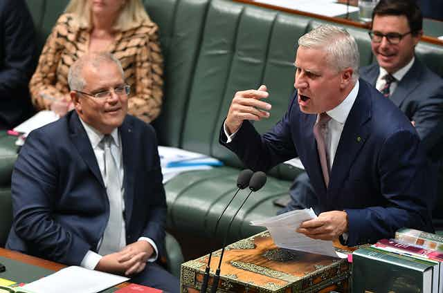 Scott Morrison and Michael McCormack during question time