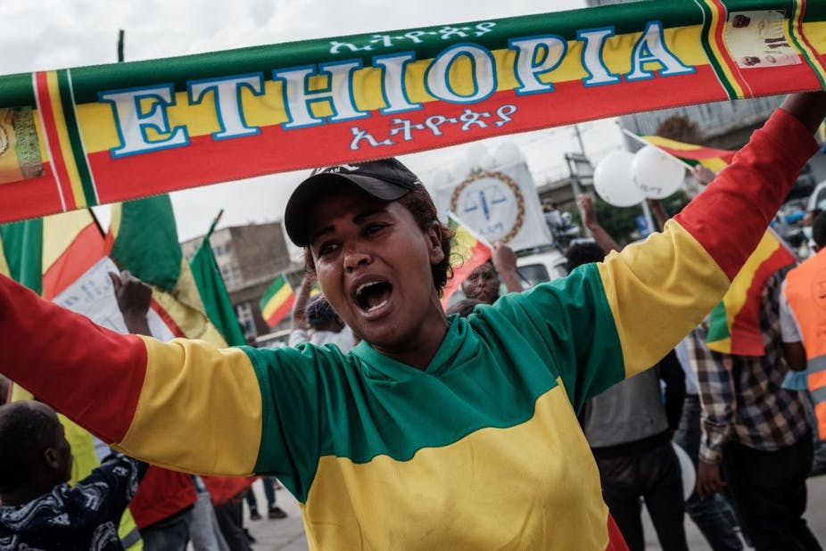 Ethiopian opposition supporter at election campaign
