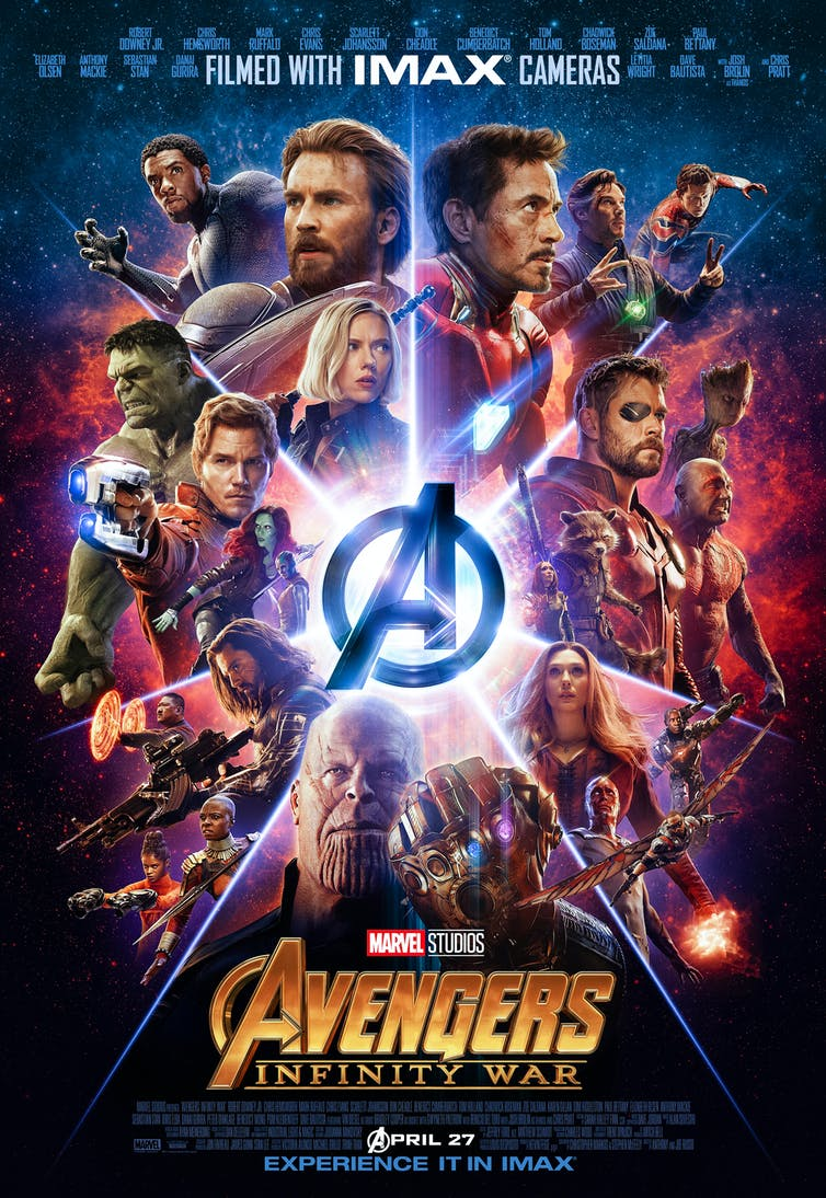 Marvel avengers IMAX movie poster with collage of Marvel Universe characters