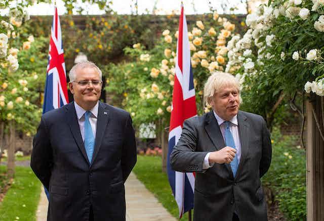 UK prime minister Boris Johnson with Australian prime minister Scott Morrison in the garden of 10 Downing Street.