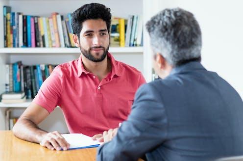 Two men conducting a job interview