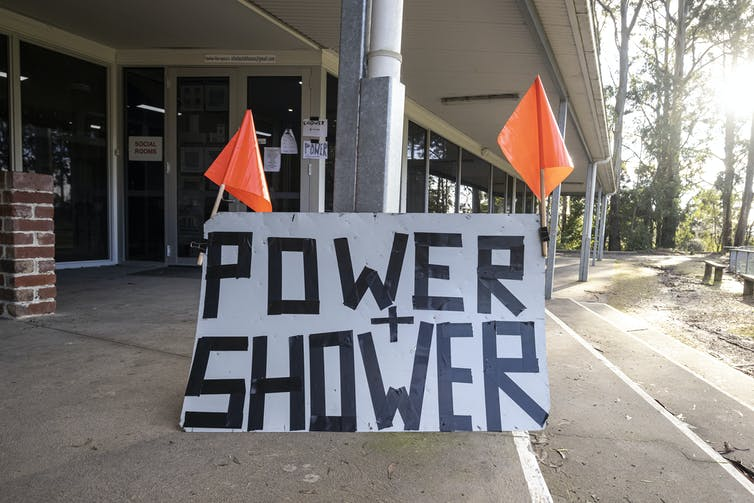 Sign reading 'power and shower'