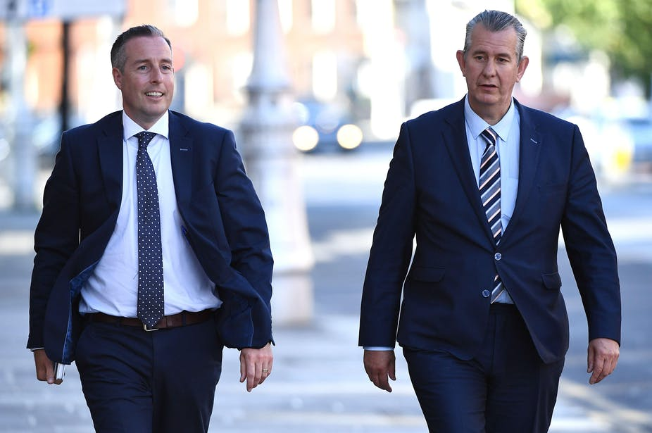 Newly confirmed Northern Ireland  first minister Paul Given walking alongside the then leader of the Democratic Unionist Party, Edwin Poots in Dublin, Ireland June 3, 2021.