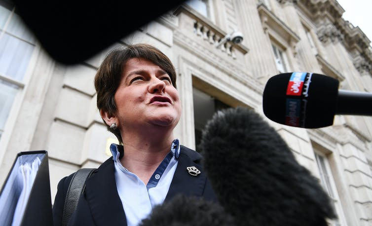 Former DUP leader and Northern Ireland first minister Arlene Foster answering questions from journalists.