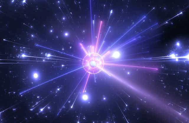 Artist's concept of high-energy collision.