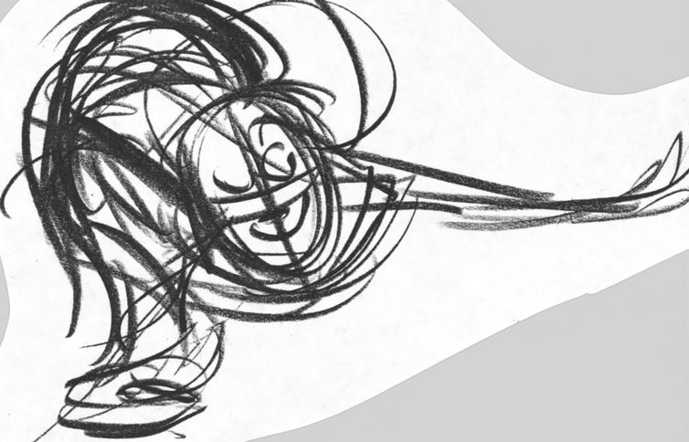 A swirl of indecipherable pencil lines