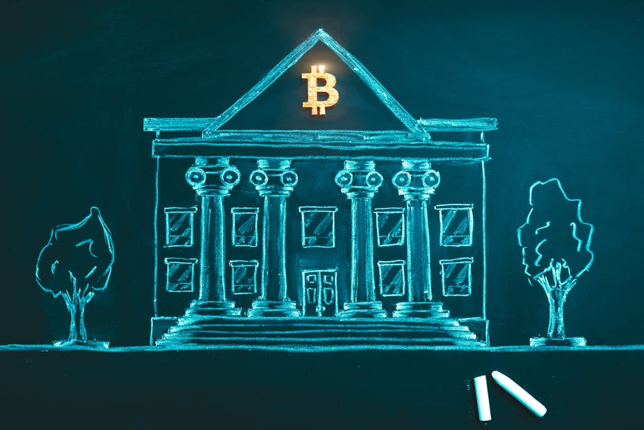 Drawing of a bank with a bitcoin sign above it