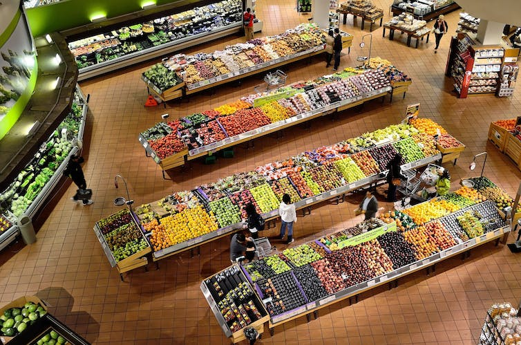 Fruit and vegetables in a supermarket
