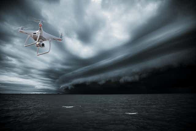 A drone flies in stormy skies