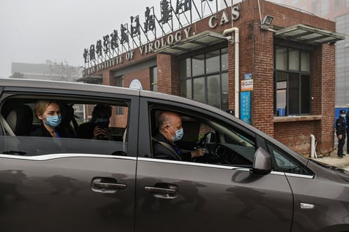 A car with 3 World Health Organization investigators driving up to the Wuhan Institute of Virology in Wuhan China on February 3, 2021.