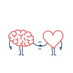 A cartoon of a brain shaking hands with a heart.