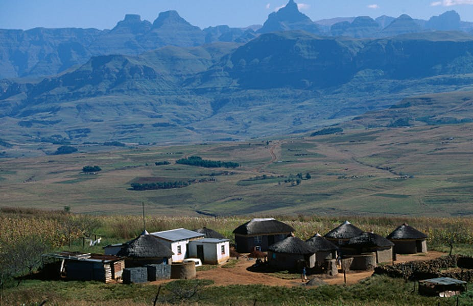 A homestead of mainly thatch-roofed rondavels in rural KwaZulu-Natal