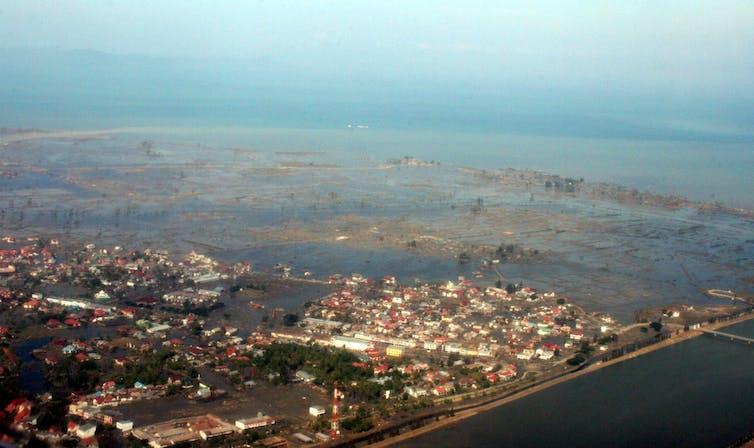 Aerial view of a village underwater.