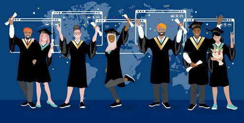 Illustration of graduates holding diplomas with laptop screens and a world map floating behind them.