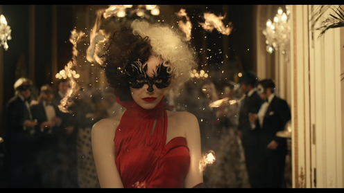 Emma Stone dressed as Cruella wearing black and white wig, black mask around her eyes and a red dress as flames ignite around her