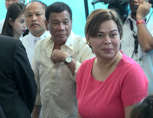 Philippines president Rodrigo Duterte with his daughter Sara in 2017.