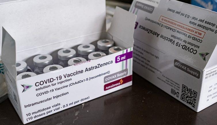 Boxes of AstraZeneca COVID-19 vaccines