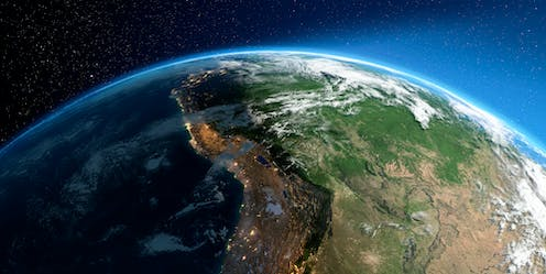 Highly detailed Earth with atmosphere, relief and light-flooded cities. Transition from night to day. South America. Bolivia, Peru, Brazil.