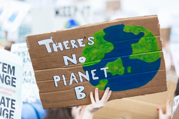 Protest sign saying 'There's no planet B'