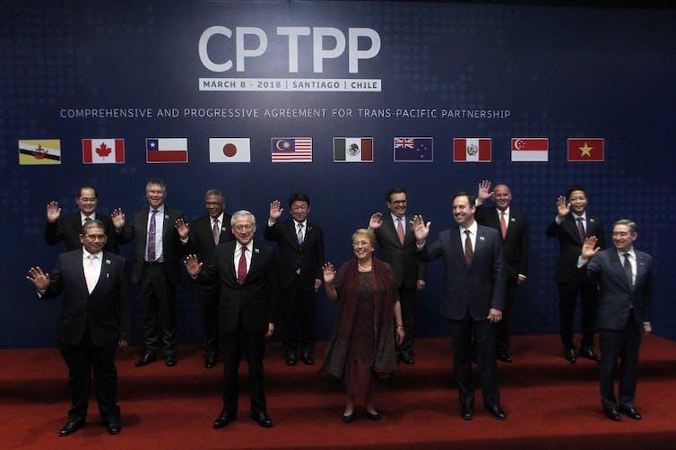 The original signatories of the CPTPP pose in Santiago, March2018