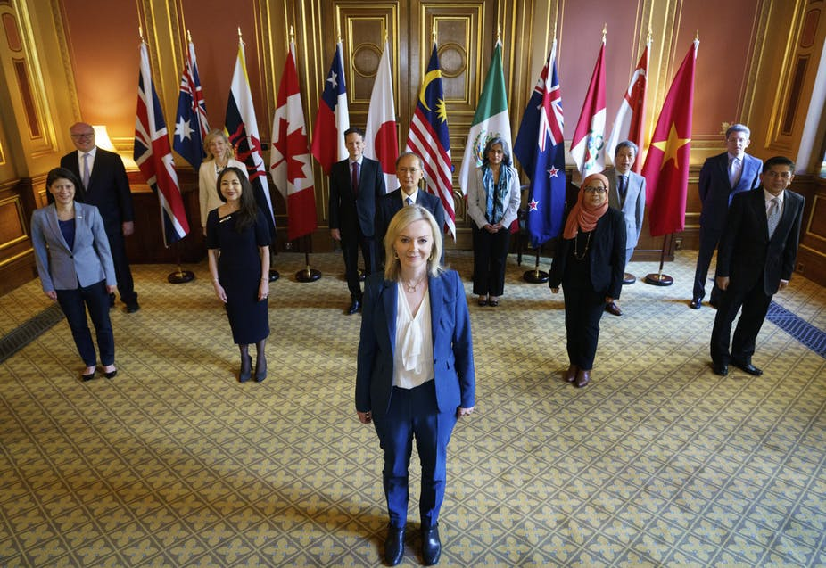 The UK's secretary of state for international trade, Liz Truss chairs a CPTPP head of mission roundtable, July 2020.