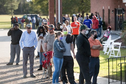 A long line of voters outside a polling place on Election Day in Effingham, South Carolina.