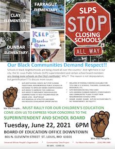 Protest flyer with photos of St. Louis public school buildings