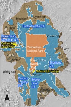Map showing the parks and forest land within the Greater Yellowstone Area