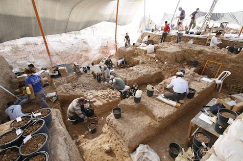 Archaeologists digging at Nesher Ramla